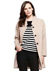 M&S Collection Cutaway Collar Cocoon Mid Coat