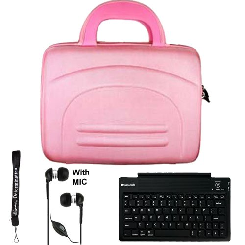 Pink eBigValue Protective Hard Nylon Cube Carrying Case with Handles for Acer Iconia Tab W Series Windows 7 Tablet 10.1 inch screen ( W500-BZ467 W500-BZ841 ) + Includes an ebigvalue (TM) Determination Hand Strap Key Chain + Includes a Slim Travel Wireless Bluetooth Keyboard + Includes a Crystal Clear HD Noise Filter Handsfree with Mic and Mute Button