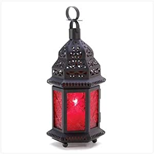 Red Glass Metal Moroccan Candle Holder Hanging Lantern