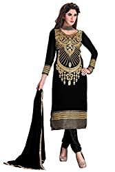 R K EXPORTS Presents Multi Embroidered Georgette Straight Unstiched Dress Material(Black)