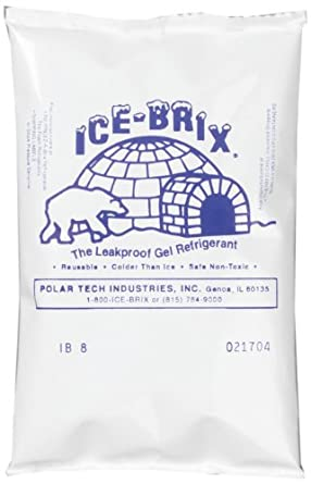 "Polar Tech IB6 Ice Brix Leakproof Viscous Gel Refrigerant Poly Pack, 4"" Length x 6"" Width x 3/4"" Thick (Case of 48)"