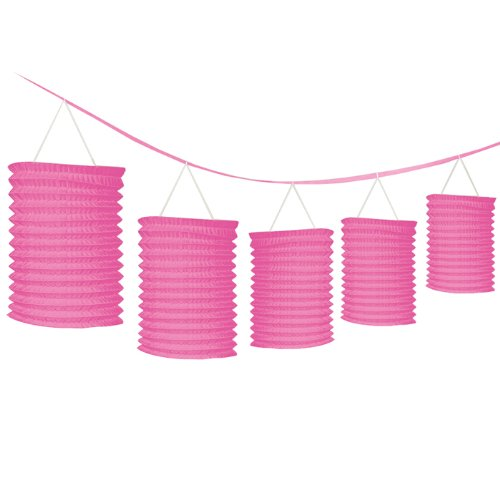 Amscan Bright Paper Lantern Garland, 12', Pink