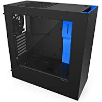 NZXT S340 ATX Mid Tower Computer Case Chassis and USB 3.0 (Matte Black/Blue)