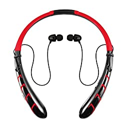 Rymemo 2016 Newest Super Long Battery Life Wireless Bluetooth 4.0 Headset Stereo Music Headset Headphones Earpiece Sports Vibration Neckband Style Earphones for Cellphone, Red-Black
