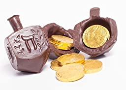 Happy Hanukkah Surprise Gourmet and Unique Handmade Dark Chocolate Dreidel filled With \