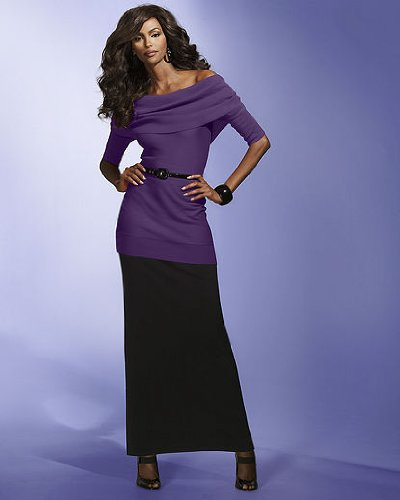 Spiegel Signature Stretch Silk Knit Collection:Long Pencil Skirt (Misses XL ROYAL PURPLE)