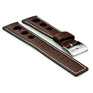 StrapsCo Dark Brown GT Rally Racing Leather Watch Strap in size 20mm