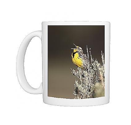 Photo Mug Of Western Meadowlark (Sturnella Neglecta) Singing, Yellowstone National Park,