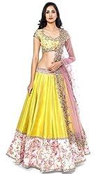 The Zeel Fashion Yellow Color bhaglpoori Anarkali Unstitched lehegas set