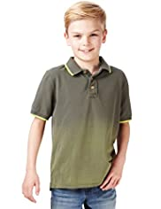 Pure Cotton Dip Dye Polo Shirt with Stay New™