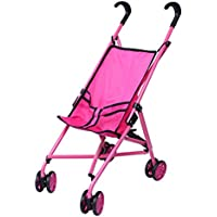 Precious Toys Hot Pink Umbrella Doll Stroller, Black Handles And Hot Pink Frame With Swiveling Wheel