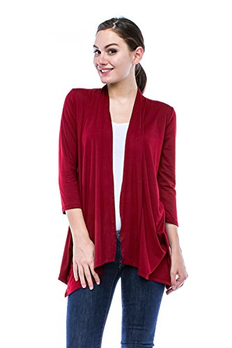J Doe Style Womens Lightweight 3/4 Sleeve Open Front Cardigan, L, Burgundy
