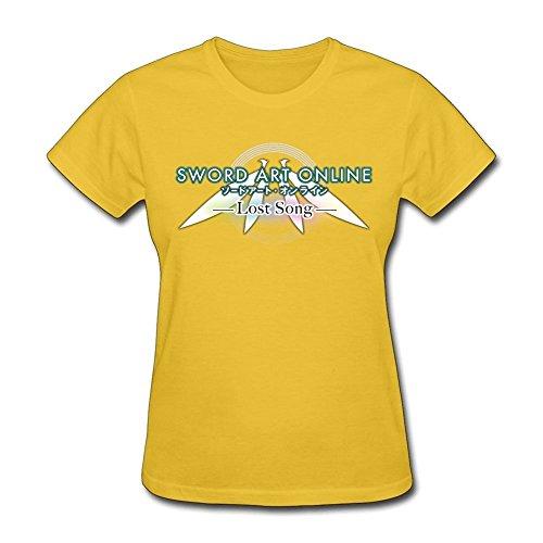Lost xcarmen Sword Art Online singolo T-shirt donna scollo rotondo Yellow XXL