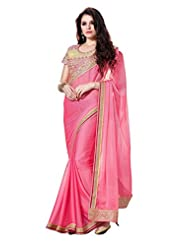 New Indian Pink Wedding Saree Net Blouse Bollywood Ethnic Party Wear Sari