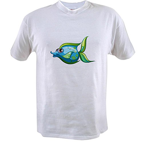 Truly Teague Value T-Shirt Blue Green Angel Fish - Small