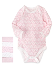 5 Pack Pure Cotton Stripe, Star & Doll Print Bodysuits