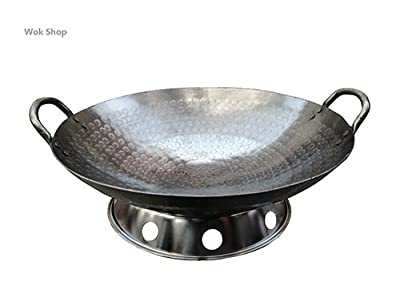 Wok Shop's Carbon Steel Hand Hammered 2-handle Wok