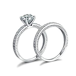 Epinki Women Rings, 925 Sterling Silver Band Ring With Round Cubic Zirconia Double Ring Size 6.5
