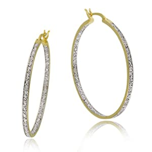 "18k Yellow Gold Plated Sterling Silver Diamond-Accent Hoop Earrings (1.6"" Diameter)"