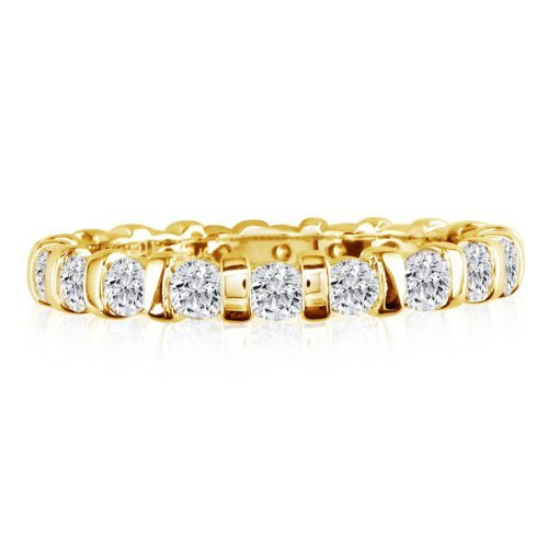 SuperJeweler 2ct Rounded Bar Set Diamond Eternity Anniversary Band Ring, 18K Yellow Gold, GHSI