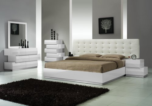 J&M Furniture Milan White Lacquer With White Leatherette Headboard Queen Size Bedroom Set
