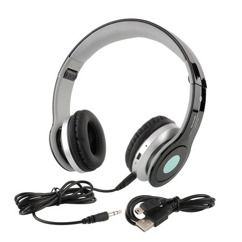 {Factory Direct Sale} Hi-Tech Usb Wireless Bluetooth A2Dp Stereo Headphones Headset At-B802 For Mobile Mp3 Mp4 Tablets Pc Fm - Black