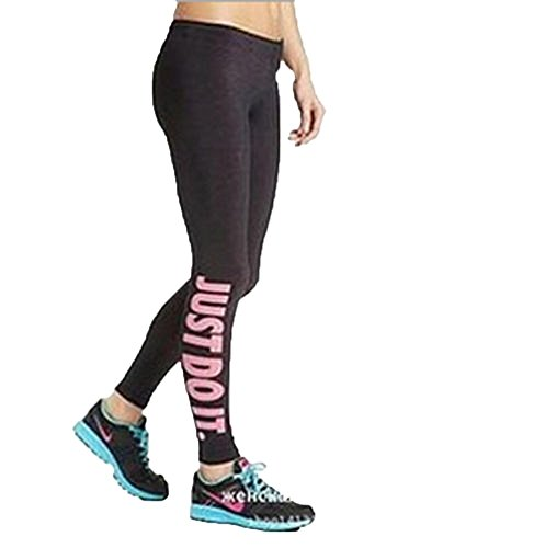 Oulifa Women's High Waist Cropped Yoga Sport Leggings Pink Just do it