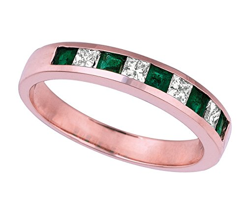 0.58 carat Emerald and princess cut diamond ring band pink gold 14K size F