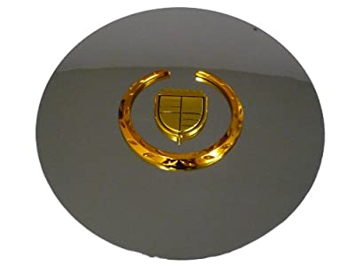 Set of 4 Otis Inc LA Cadillac Escalade Chrome Wheel Center Cap with Gold Wreath and Crest