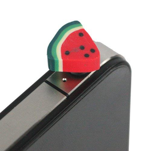 【全9柄】イヤホンジャックアクセサリー イヤホンジャックに挿すだけ 果物シリーズ スイカ型 3.5mmミニプラグ対応 (7351-5)