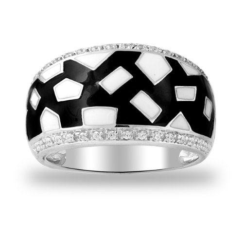 Women's Sterling Silver Fashion Ring (1/10 Cttw I-J Color, I2 Clarity), Size 6