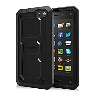 Fintie Amazon Fire Phone Case - [CaseBot Tuatara Series] Rugged Unibody Dual Layer Hybrid Full Protective Cover with Impact Resistant Bumper & Built-in Screen Protector, Lifetime Warranty from Fintie - Black