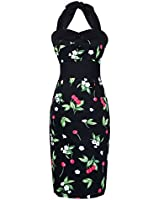 Maggie Tang 1950s 60s Retro Rockabilly Pinup Evening Vintage Halter Party Dress