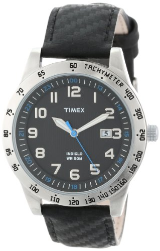 Timex Men'S T2N920 Elevated Classics Silver-Tone Case Carbon Texture Leather Watch front-499871