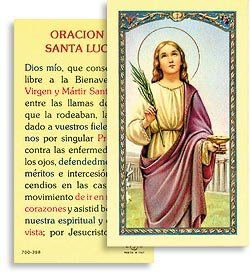 Amazon.com - Oracion a Santa Lucia Spanish Holy Cards, Pack of 25 -