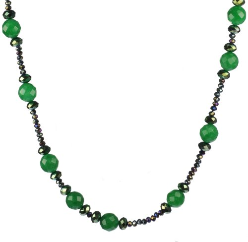 Endless Green Jade with Faceted Green Rondell Accents Necklace 36