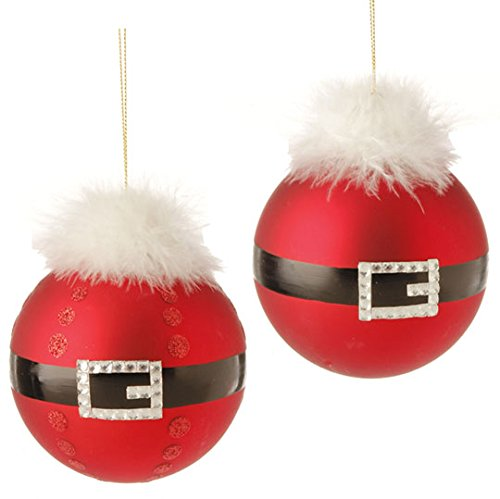 RAZ Imports – 4.5″ Santa Belt Ball Ornaments – Set of 2