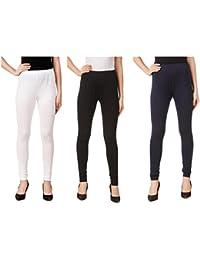 Svadhaa White Black Navy BLue Cotton Lycra Leggings(Pack Of 3)