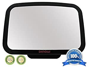 DaffaDoot Back Seat Mirror from ScooterBugg - No Center Headrest Required - *Crash-Tested* - Extra Large Baby Rear Seat Mirror - Shatterproof & Cadmium Free - 360-degree Adjustable Mirror Rotates and Pivots for that Perfect Viewing Angle - Larger than other brands and provides full sight of Rear Facing Infant Car Seat - Crystal Clear Reflection - backed by a ScooterBugg™ **Lifetime Warranty**