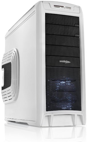 Sentey® Computer Gaming Case Arvina White Gs-6400W / 1Mm Secc / Atx Full Tower Computer Case / 4 X Usb 2.0/ 6 Blue Led Fans Included, Tool-Less, Multi-Card Reader / E-Sata Port / Lateral Fan Cooler Special For Vga Cards / Removable Hdd Bay / 4 X Fan Contr