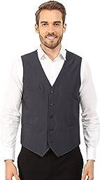 Perry Ellis Men\'s Tonal Mini Plaid Suit Vest, Navy, Large