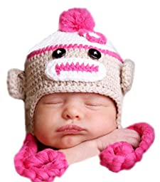 Melondipity Sweet Sock Monkey with Braids Baby Hat Pink 12-24 months