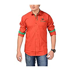 AEDI Mens Red Casual shirt (Red_36)