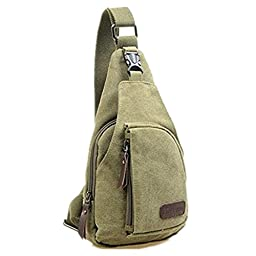 Cool Men\'s Outdoor Sports Casual Canvas Unbalance Backpack Shoulder Bag Crossbody Sling Chest Bag - Size L (Army Green)