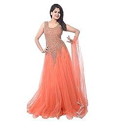 Royal Ethics Women's Net Semi-Stitched Gown (Kesri Goun_Orange)