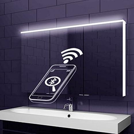 Mobile a specchio in alluminio con strisce di illuminazione a LED fotosensibile acrilico + altoparlante Bluetooth, 122x70cm