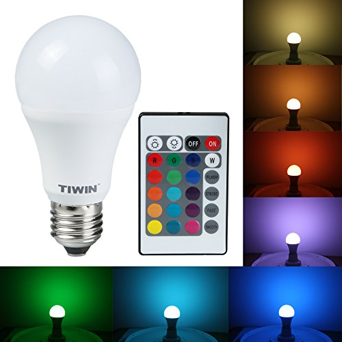 TIWIN® 5W Standard A60 E27 Dimmbare LED RGB Birne Lampe A+ /16 Farbauswahl /7 Stufen dimmbar /Automatische Farbwechsel /200 Grad /inklusive Fernbedienung Strahler Leuchtmittel