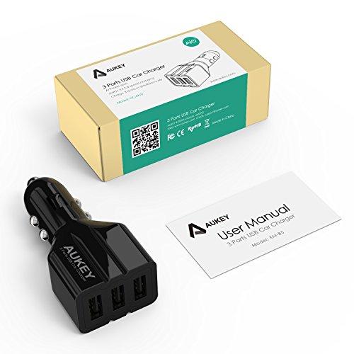 Aukey-CC-N10-(36W/7.2A)-3-Port-USB-Car-Charger