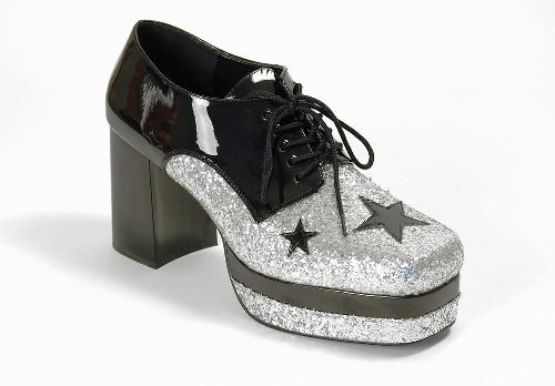 1970s Glam Rock Male Platform Fancy Dress Shoes - Small (US 8-9) (70s Glam Rock Fancy Dress)