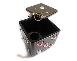 Cherry Blossom Cat\'s Dice Portable Ashtray Keychain Dice Mini Metallic Black